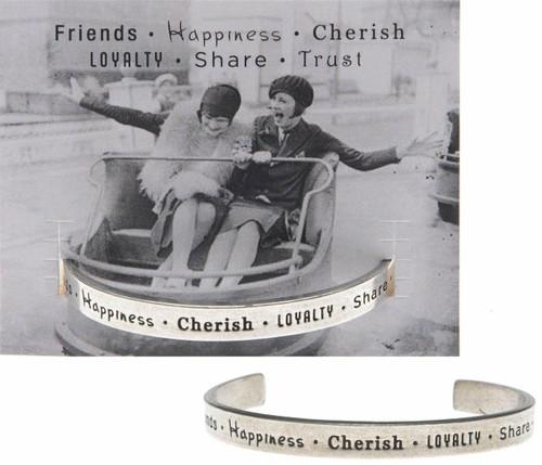 Friends Happiness Cherish Cuff Bracelet Wendell August