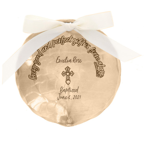 Personalized Baptism Bowl Bronze Wendell August