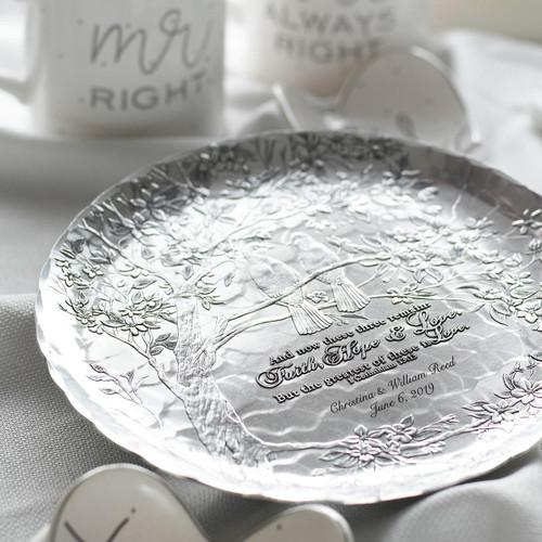 Faith, Hope and Love Birds Wedding Plate Aluminum Wendell August
