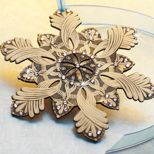 Snow Crystal Happiness Ornament Bronze Wendell August