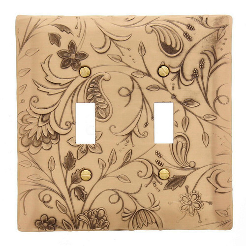 Tracery Double Switch Plate Bronze Wendell August