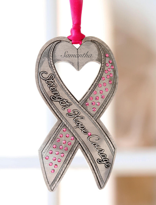 Breast Cancer Awareness Ribbon Ornament with Crystals Wendell August