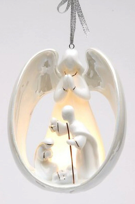 Angel with Holy Family Light Cover Ornament