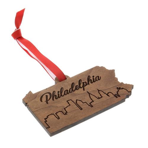 Philadelphia Wooden Skyline Ornament Wendell August