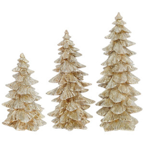 3 Piece Champagne Gold Glittered Tree Set