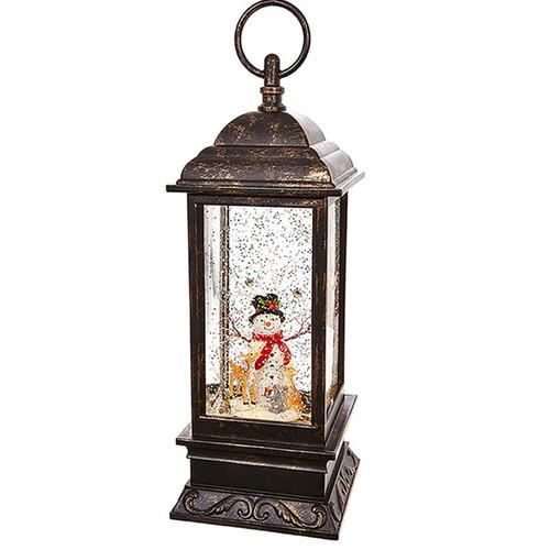 11-IN Snowman Lighted Water Lantern