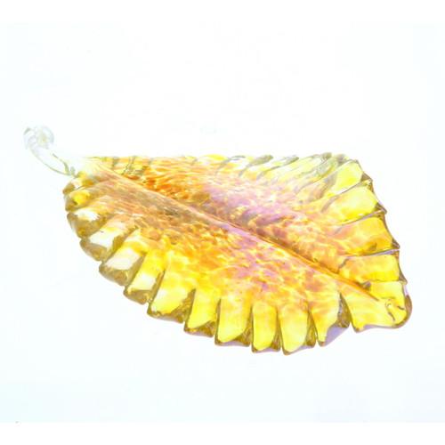 Vessel Glass Handblown Leaf - Gold Wendell August
