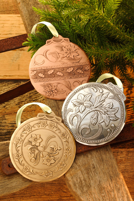 Flowers of Christmas Mixed Metal Ornament Set