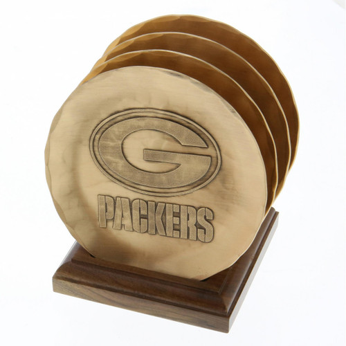 Green Bay Packers 4 Piece Coaster Set with Caddy Bronze Wendell August