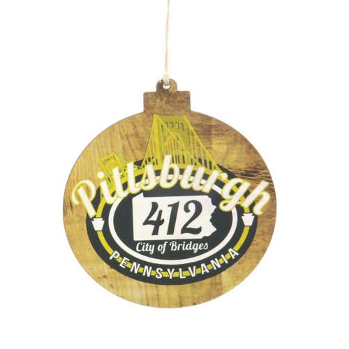 Pittsburgh Bridge Wooden Ornament Wendell August