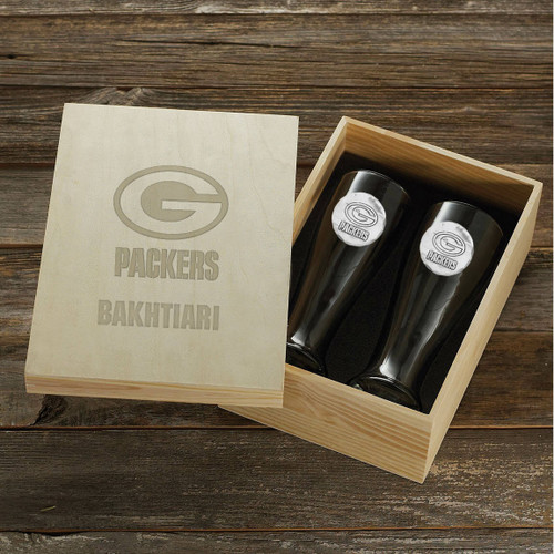 Green Bay Packers Pilsner Set and Collectors Box Wendell August