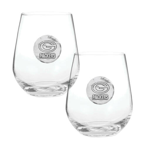 Green Bay Packers 2-Piece Stemless Wine Glass Set Wendell August