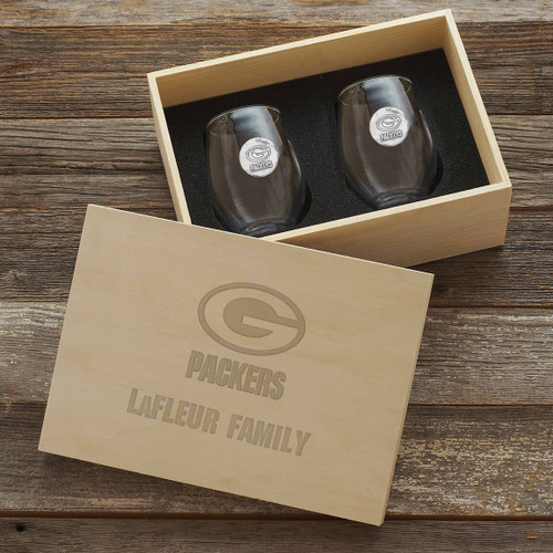 Green Bay Packers Stemless Wine Glass Set and Collectors Box Wendell August