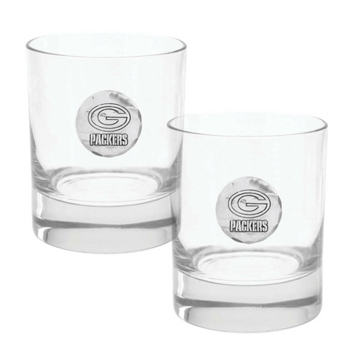 Green Bay Packers 2-Piece Rocks Glass Set Wendell August