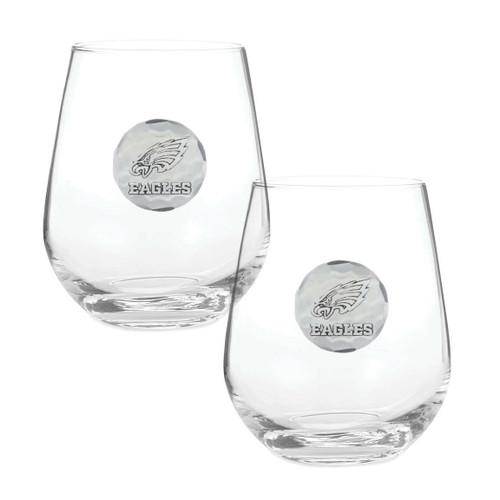 Philadelphia Eagles 2-Piece Stemless Wine Glass Set Aluminum Wendell August