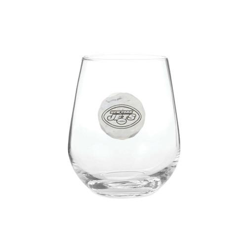 New York Jets Stemless Wine Glass Wendell August