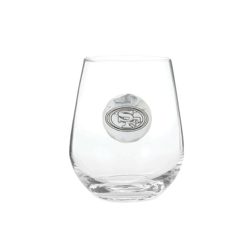 San Francisco 49ers Stemless Wine Glass Wendell August