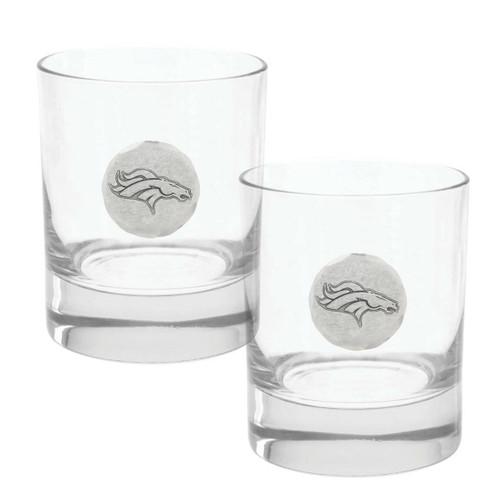 Denver Broncos 2-Piece Rocks Glass Set Wendell August