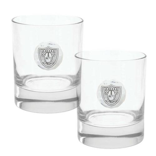 Las Vegas Raiders 2-Piece Rocks Glass Set Wendell August