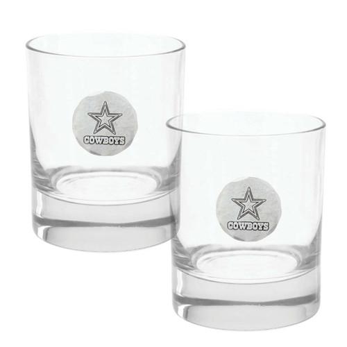Dallas Cowboys 2-Piece Rocks Glass Set Wendell August