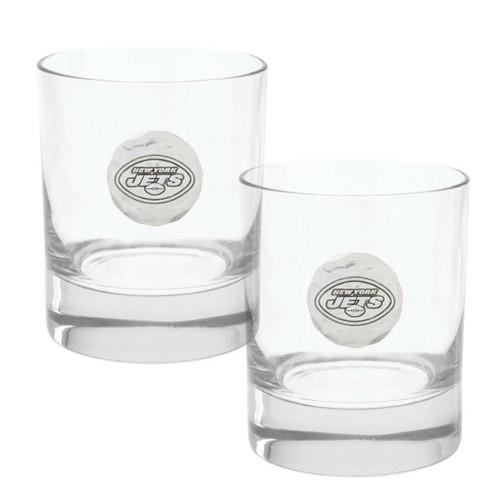 New York Jets 2-Piece Rocks Glass Set Wendell August
