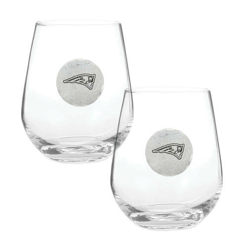 New England Patriots 2-Piece Stemless Wine Glass Set Wendell August