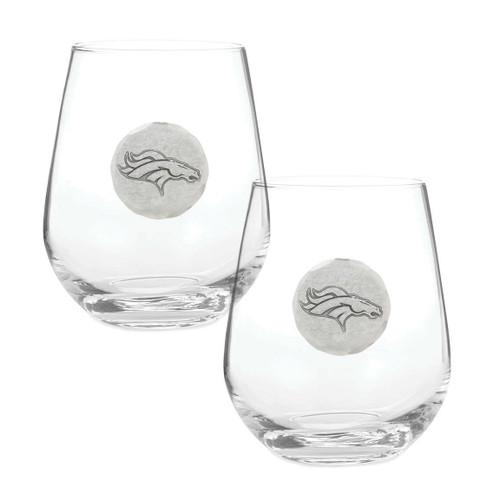 Denver Broncos 2-Piece Stemless Wine Glass Set Wendell August