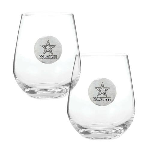 Dallas Cowboys 2-Piece Stemless Wine Glass Set Wendell August