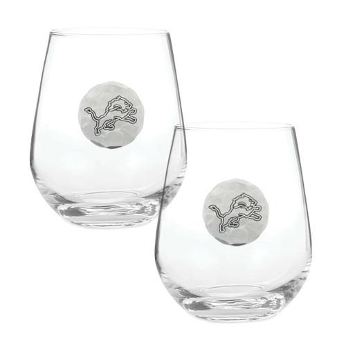 Detroit Lions 2-Piece Stemless Wine Glass Set Wendell August