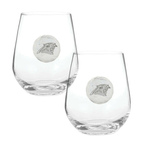 Carolina Panthers 2-Piece Stemless Wine Glass Set Wendell August
