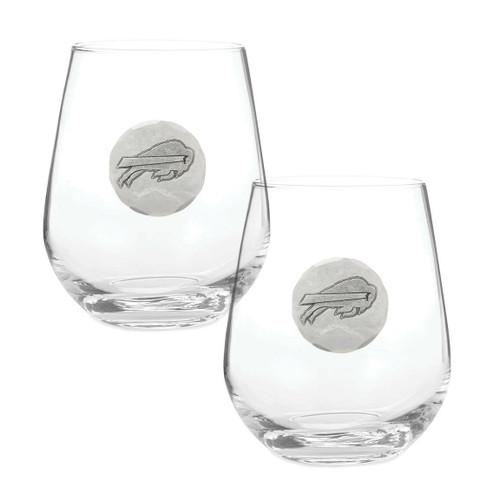 Buffalo Bills 2-Piece Stemless Wine Glass Set Wendell August