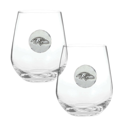 Baltimore Ravens 2-Piece Stemless Wine Glass Set Wendell August