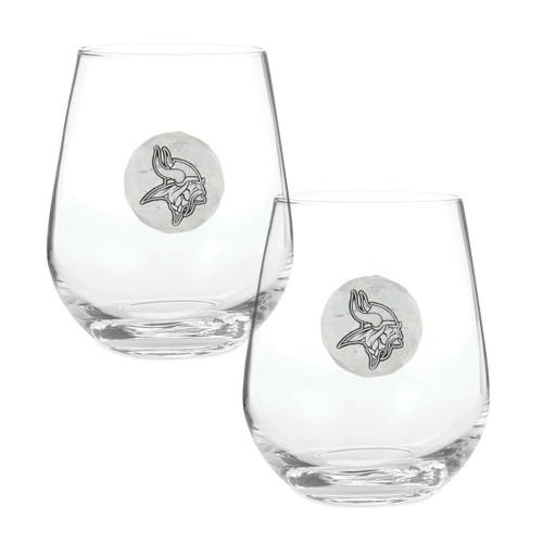 Minnesota Vikings 2-Piece Stemless Wine Glass Set Wendell August