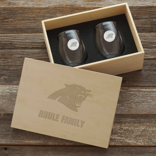 Carolina Panthers Stemless Wine Glass and Collectors Box Wendell August