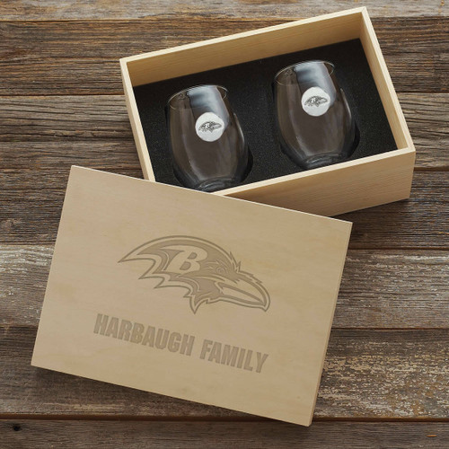 Baltimore Ravens Stemless Wine Glass and Collectors Box Wendell August