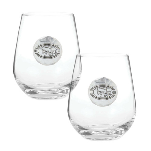 San Francisco 49ers 2-Piece Stemless Wine Glass Set Wendell August