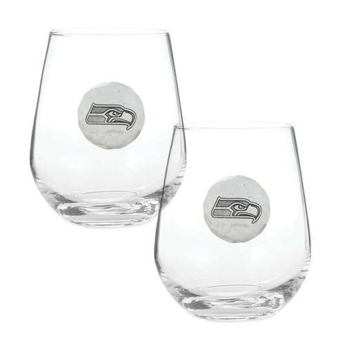 Seattle Seahawks 2-Piece Stemless Wine Glass Set Wendell August