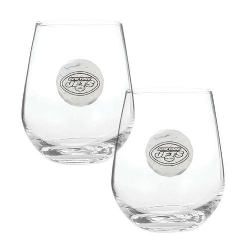 New York Jets 2-Piece Stemless Wine Glass Set Wendell August