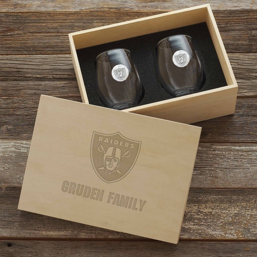 Las Vegas Raiders Stemless Wine Glass Set and Collectors Box Wendell August