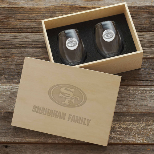 San Francisco 49ers Stemless Wine Glass Set and Collectors Box Wendell August