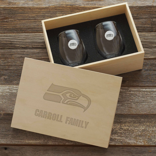 Seattle Seahawks Stemless Wine Glass Set and Collectors Box Wendell August