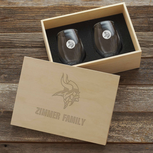 Minnesota Vikings Stemless Wine Glass and Collectors Box Wendell August