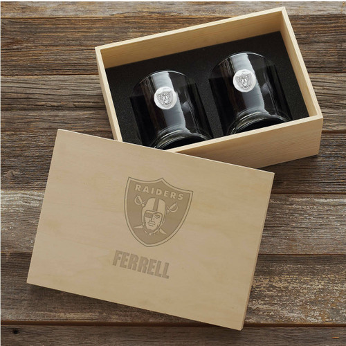 Las Vegas Raiders Rocks Glass Set and Collectors Box Wendell August