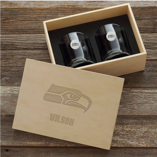 Seattle Seahawks Rocks Glass Set and Collectors Box Wendell August