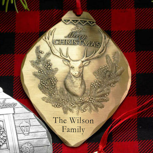 Christmas Deer Ornament Bronze Wendell August