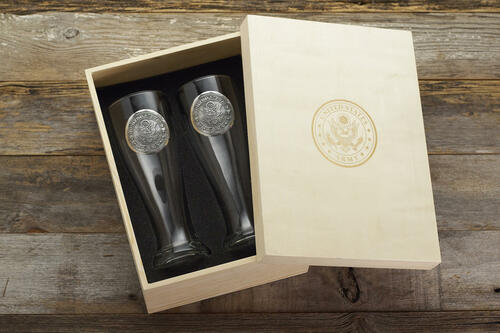 US Army 2-Piece Pilsner Set with Personalizable Box Wendell August