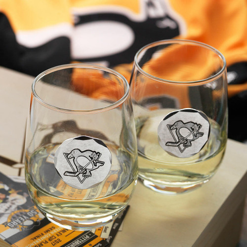 Pittsburgh Penguins 2-Piece Stemless Wine Glass Set with Collectible Box Wendell August