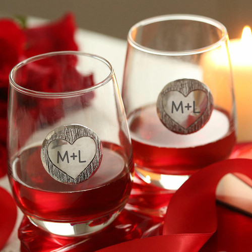 Carved Initials 2-Piece Stemless Wine Glass Set Wendell August