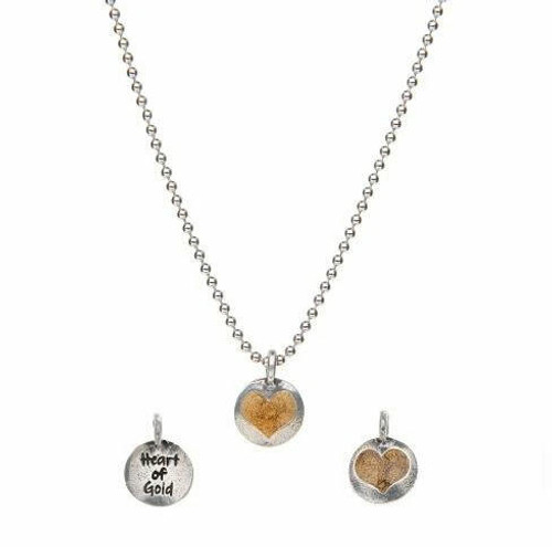 Heart of Gold Necklace Silver Wendell August