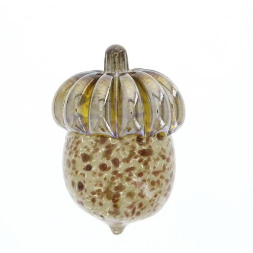 Vessel Handblown Glass Acorn Paperweight - Ivory Gold Dots Wendell August